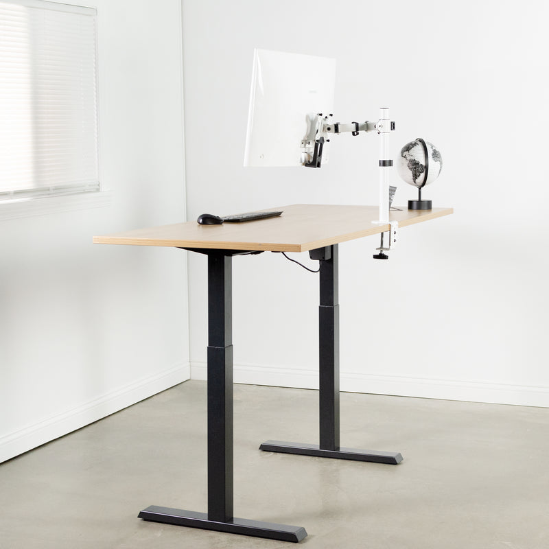 Black Compact height adjustable desk with white monitor