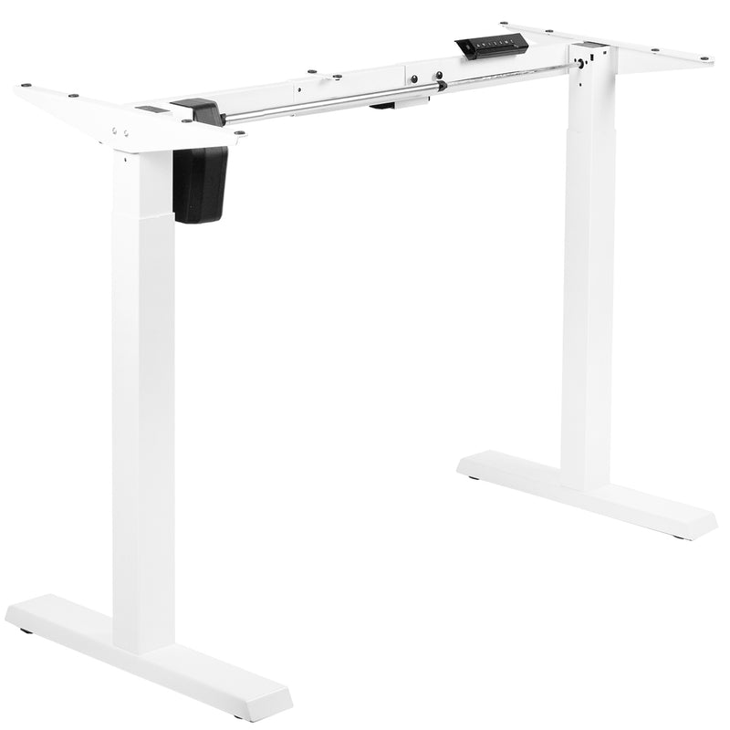 White Compact Electric Single Motor Desk Frame