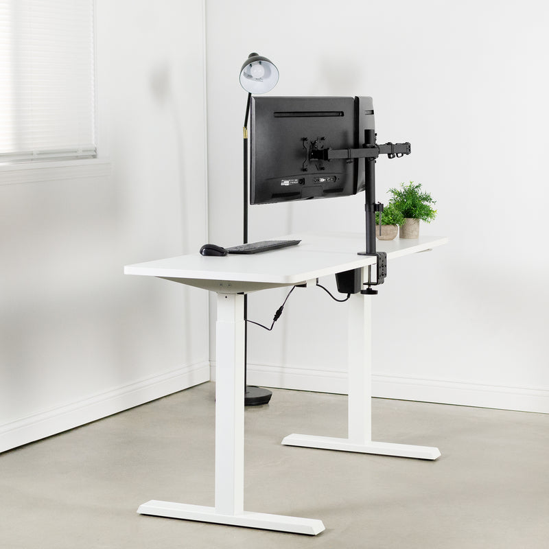 White Compact Electric Desk with dual monitors