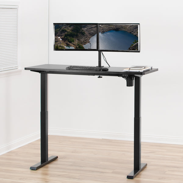 Black Compact Electric Single Motor Desk Frame