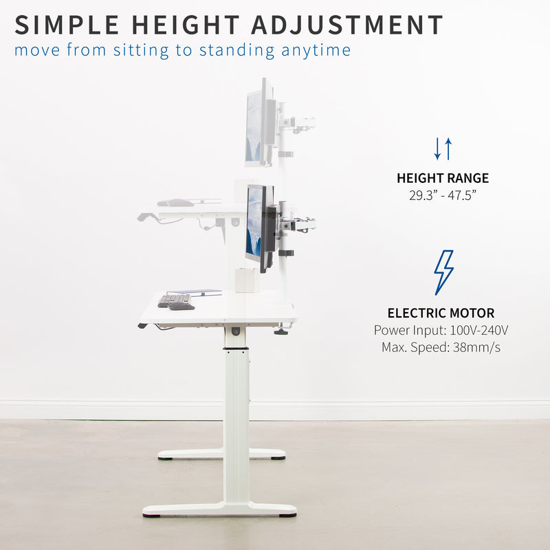 White Electric Desk simple height adjustment