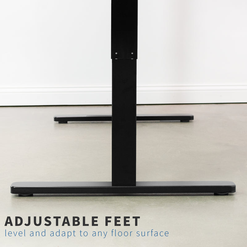 Black Electric height adjustable desk with adjustable feet