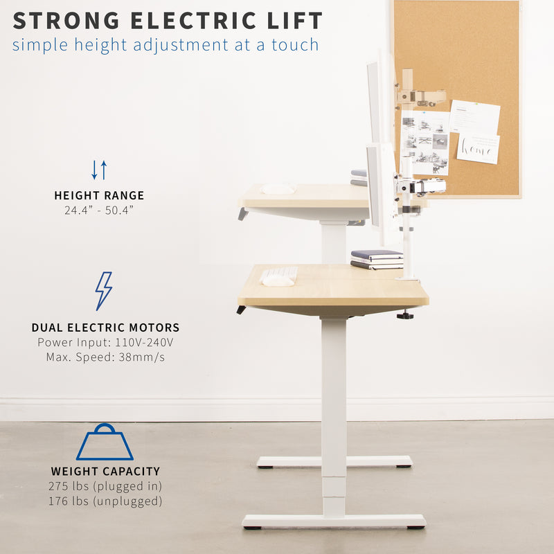DESK-EV02RW <br><br>White Electric Dual Motor Desk Frame