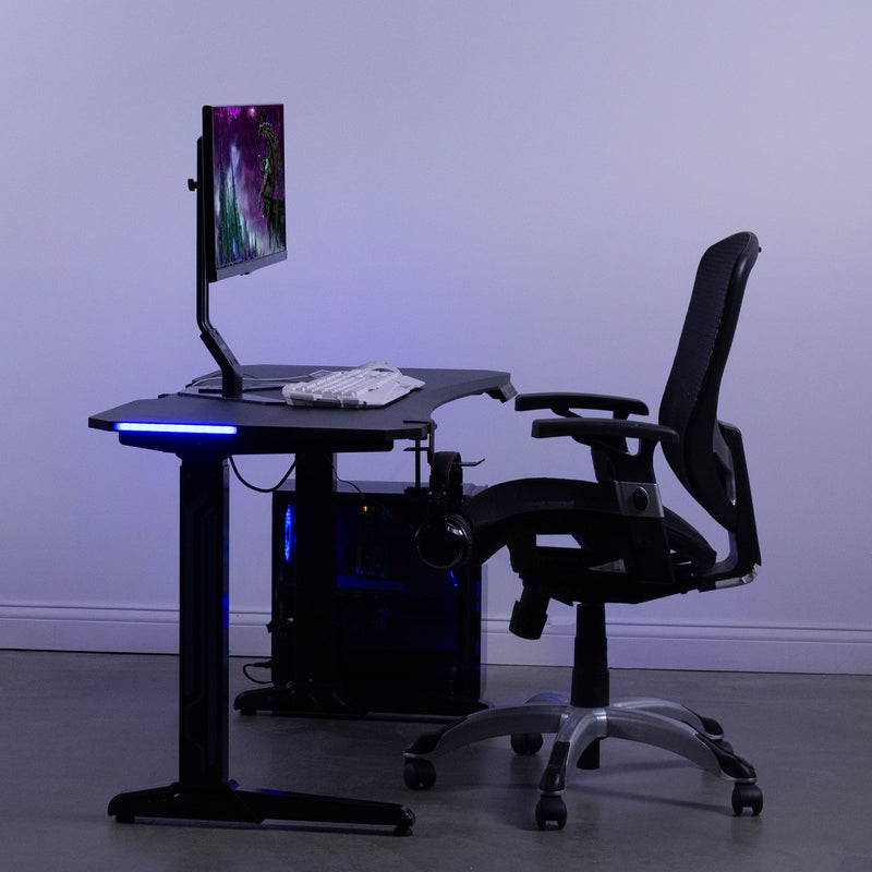 "DESK-GME2B<br><br>Black 47"" Electric Gaming Desk with LED Lights"