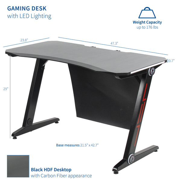 "Z-Shaped 47"" Gaming Desk with LED Lights"