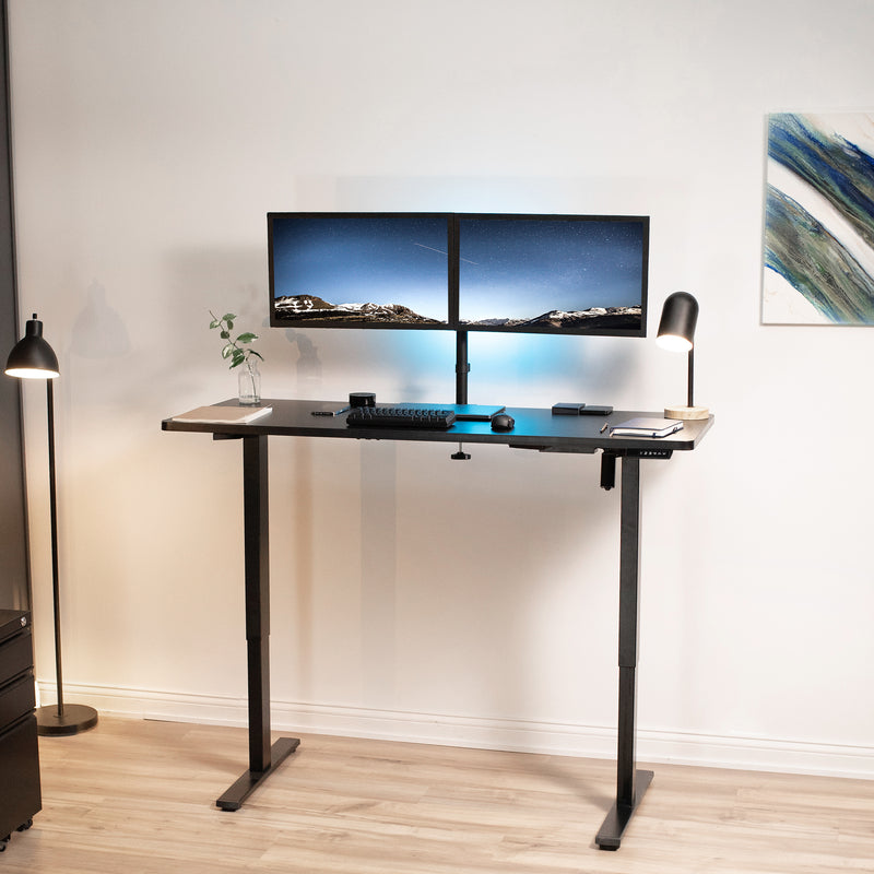 "DESK-KIT-1B6B <br><br>60"" x 24"" Electric Desk with Black Frame and Memory Pad"