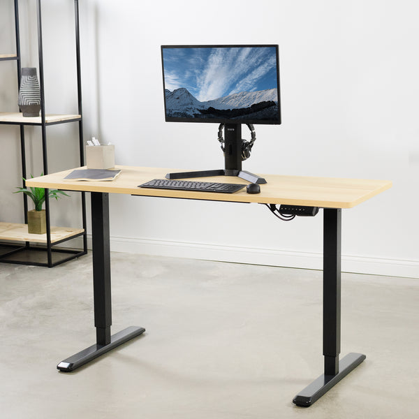 "DESK-KIT-1B6C <br><br>Light Wood / Black 60"" x 24"" Electric Desk"