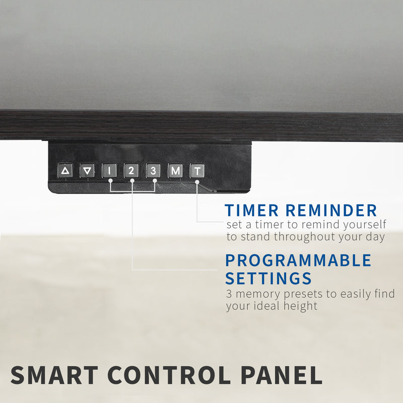 espresso black height adjustable desk smart control panel