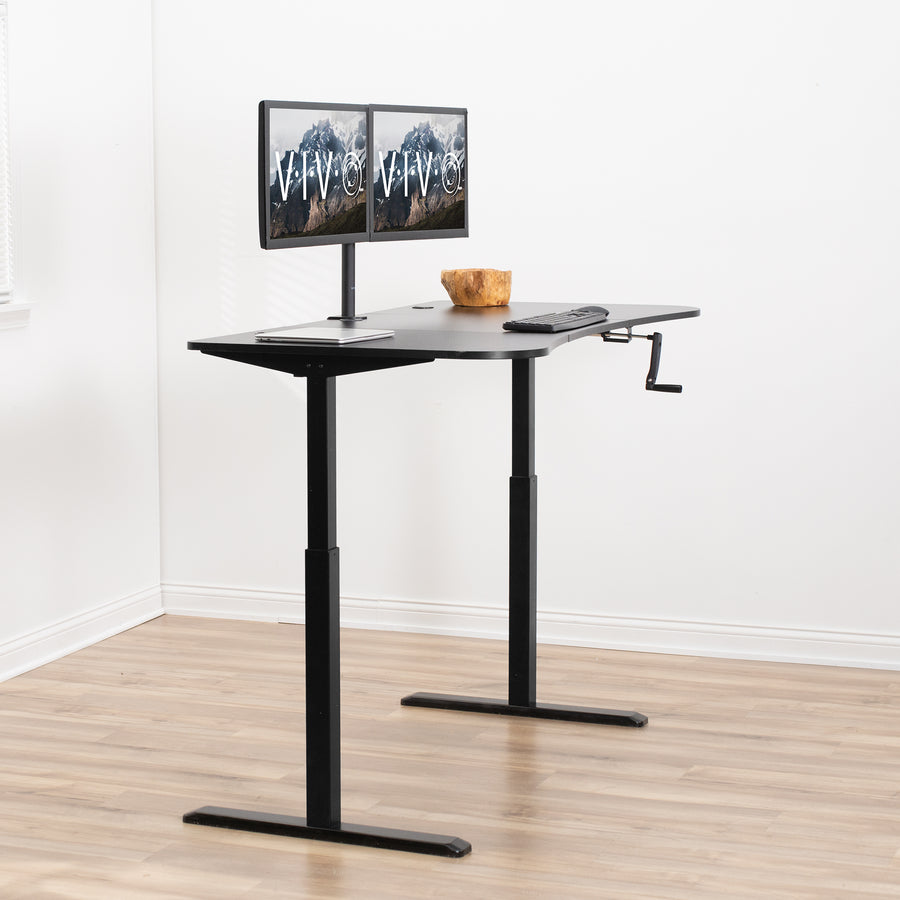 "DESK-KIT-1M1B <br><br>Crank Height Adjustable 63"" Desk"