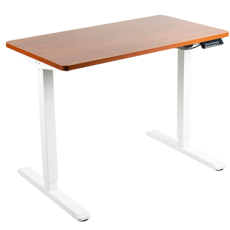 "DESK-KIT-1W4B <br><br> 43"" x 24"" Electric Desk with White Frame and Memory Pad"