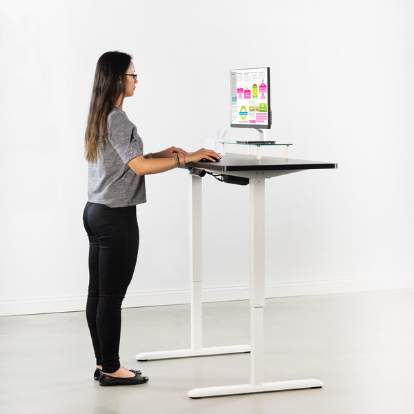 "DESK-KIT-1W6B <br><br>60"" x 24"" Electric Desk with White Frame and Memory Pad"