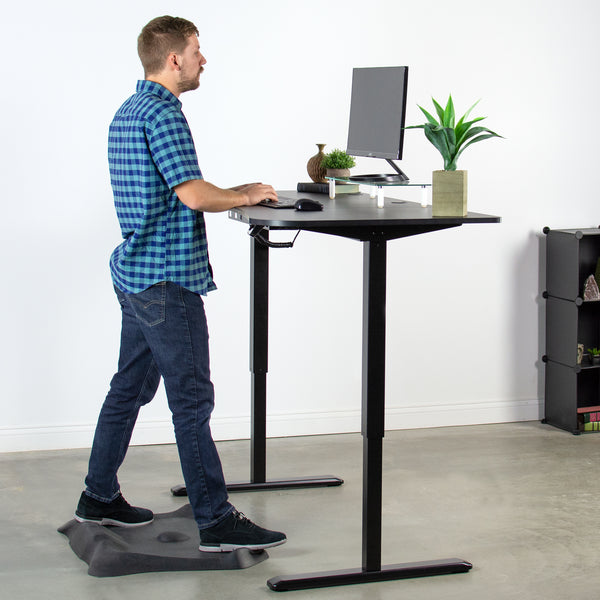 DESK-KIT-2E1B <br><br><span style=font-weight:normal;> VIVO Black Electric Height Adjustable Stand Up Desk Frame Workstation with 3 Section Table Top | Frame & Desktop Combo</span>