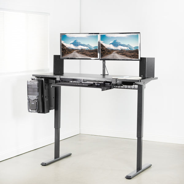 "Black 60"" x 24"" Electric Desk and dual monitor mount"