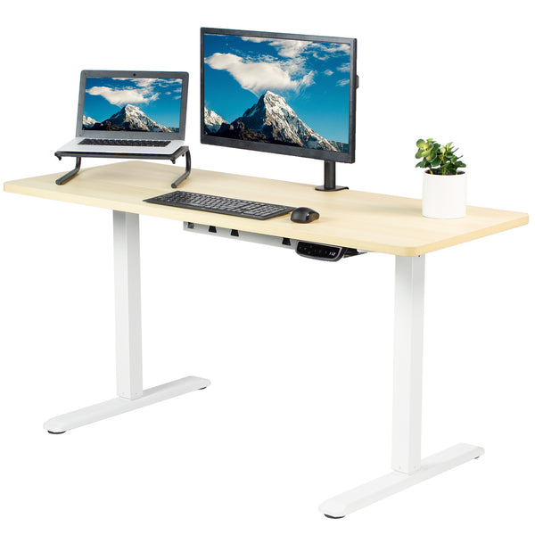 "Light Wood / White 60"" x 24"" Electric Desk"