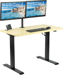 "DESK-KIT-B04C<br><br>Light Wood / Black 43"" x 24"" Electric Desk"