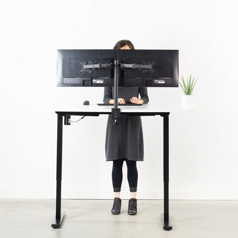 "DESK-KIT-B06W<br><br>White / Black 60"" x 24"" Electric Desk"