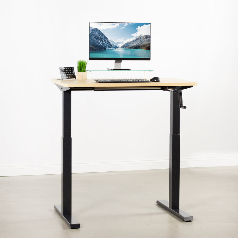 Light Wood / Black Manual Height Adjustable Desk with monitor and keyboard