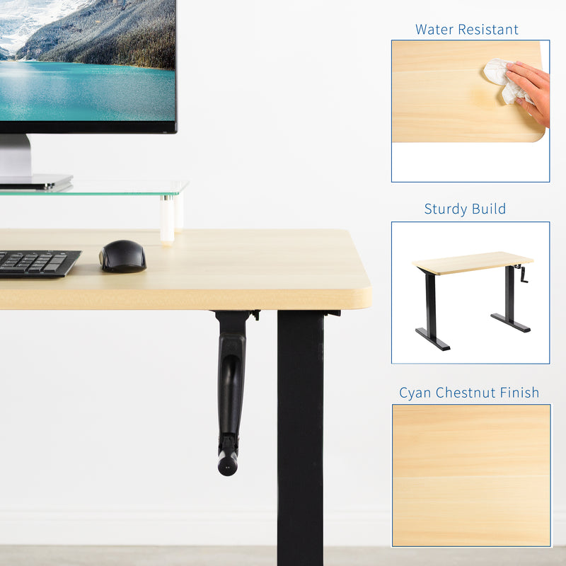 Light Wood / Black Manual Height Adjustable Desk