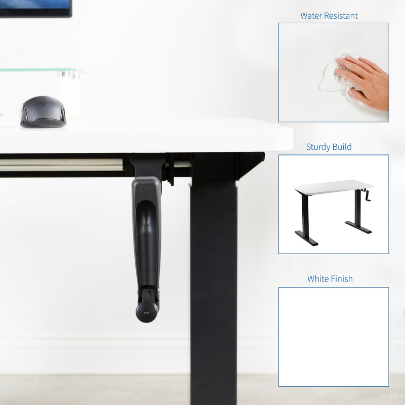 White / Black Manual Height Adjustable Desk