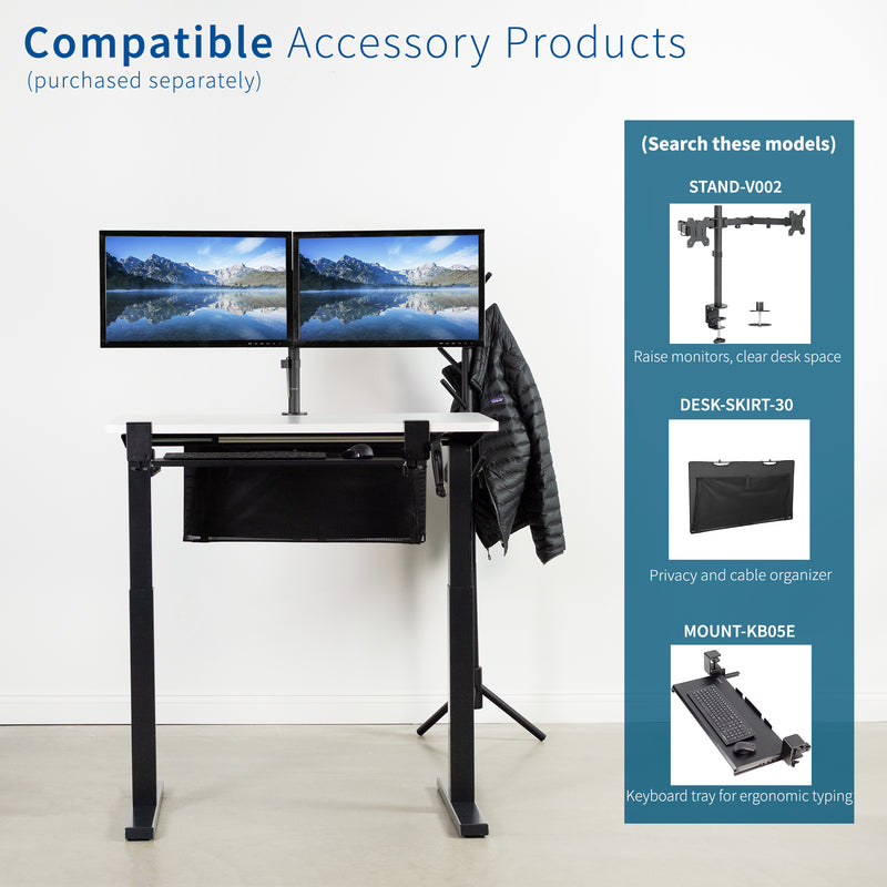 White / Black Manual Height Adjustable Desk compatible accessory products