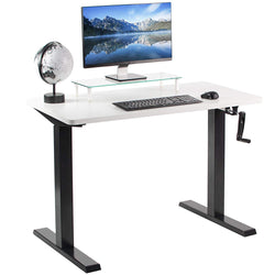 "White / Black 43"" x 24"" Manual Height Adjustable Desk"