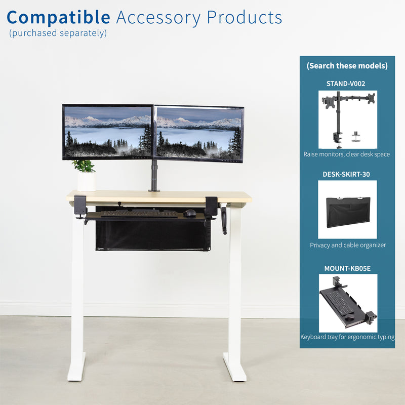 Light Wood / White Manual Height Adjustable Desk compatible accessory products
