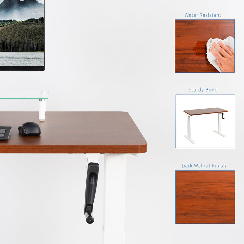 Dark Walnut / White Manual Height Adjustable Desk
