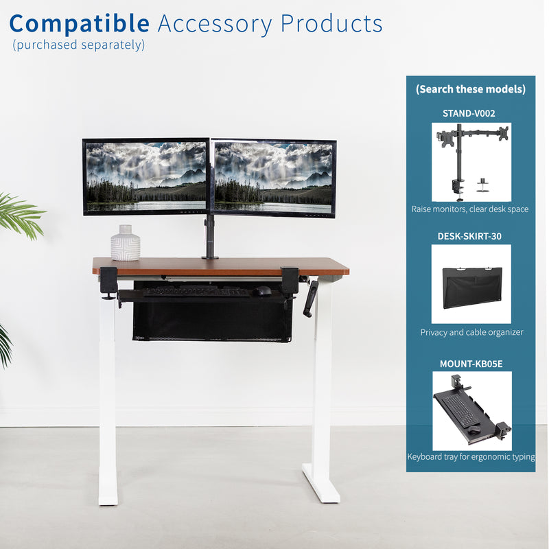 Dark Walnut / White Manual Height Adjustable Desk compatibly accessory products