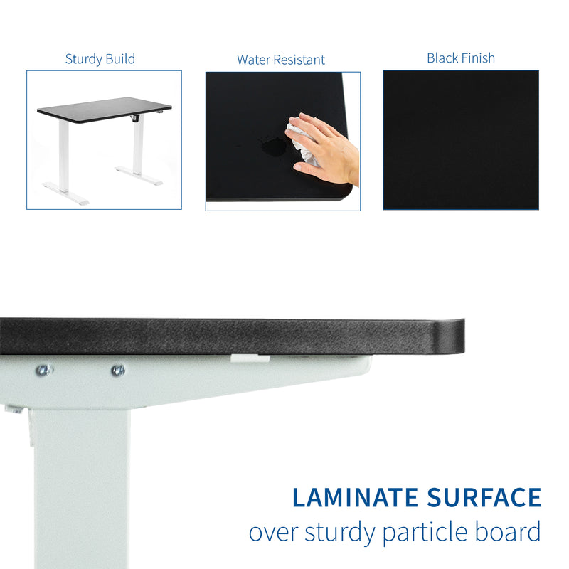 "DESK-KIT-W04B<br><br>43"" x 24"" Electric Desk with White Frame"