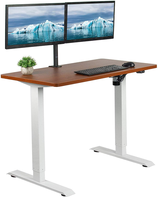 "DESK-KIT-W04D<br><br>Dark Walnut / White 43"" x 24"" Electric Desk"