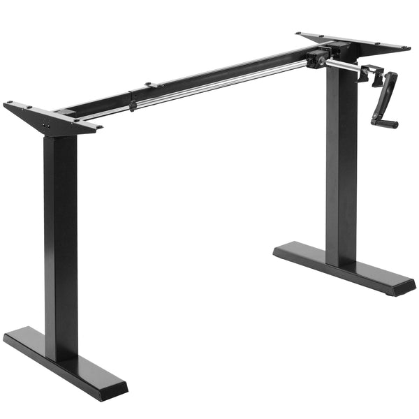 Black Compact Crank Height Adjustable Desk Frame