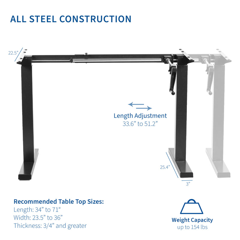Black Compact Crank Height Adjustable Desk Frame all steel construction