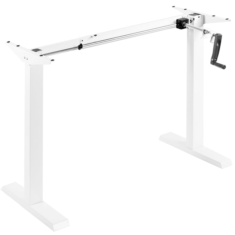 white Compact Crank Height Adjustable Desk Frame