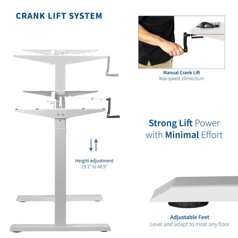 White Compact Crank Height Adjustable Desk Frame crank lift system