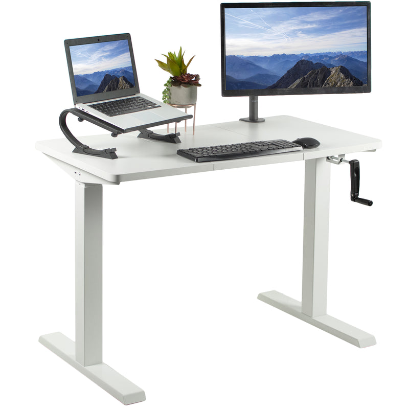 "White 43"" x 24"" Manual Height Adjustable Desk"