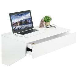"DESK-SF01W <br><br>White Wall Mounted 28"" Desk with Drawer"