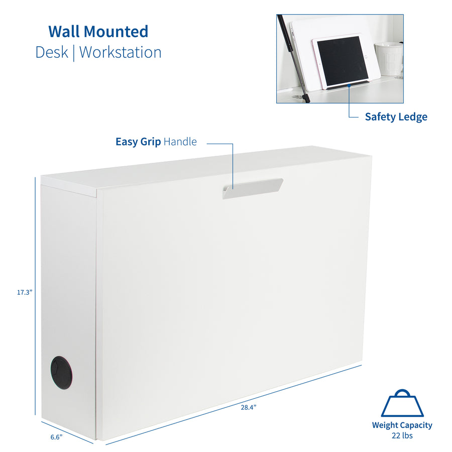 "DESK-SF02W <br><br>White Wall Mounted 28"" Drop-Down Cabinet and Desk"