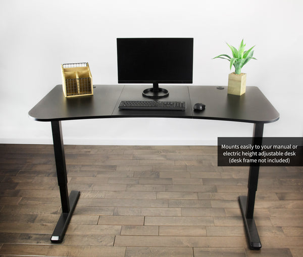 DESK-TOP1B<br><br><span style=font-weight:normal;>Black Table Top Designed for Height Adjustable Electric and Manual Standing Desk Frames up to 62"