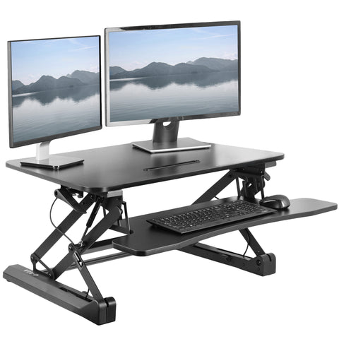 DESK-V000DB <br><br><span style=font-weight:normal;>VIVO Deluxe Height Adjustable Standing Desk Table Top Monitor Sit to Stand Laptop Riser Removable Tray Platform in Black </span>