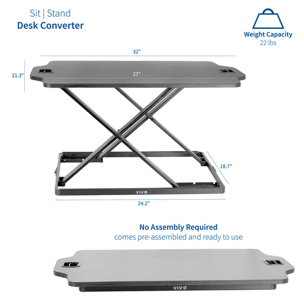 "DESK-V000HB<br><br>Black 27"" Single Top Desk Riser"