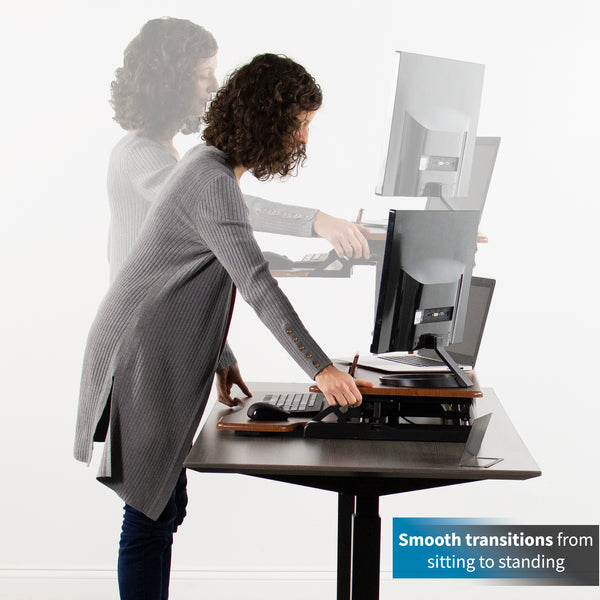 "DESK-V000KA<br><br><span style=font-weight:normal;> VIVO Wood Colored Height Adjustable Standing Desk Converter Sit to Stand Manual Riser | 32"" Wide Tabletop Workstation fits Dual Monitors </span>"