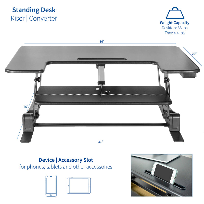 "DESK-V000VE<br><br>Black 36"" Electric Desk Riser"
