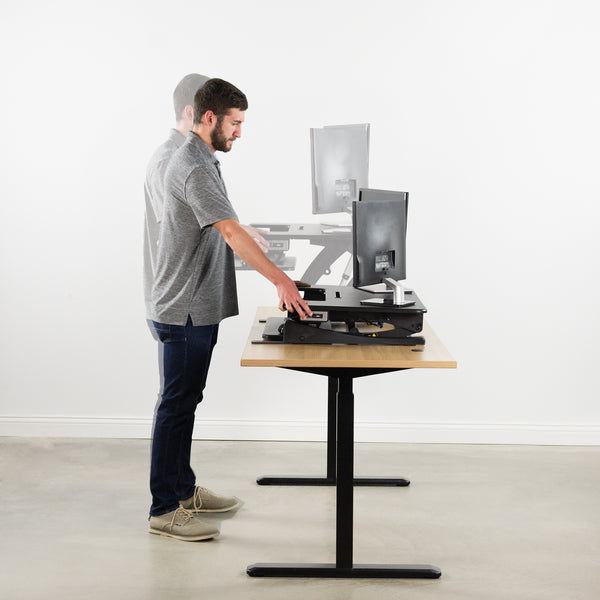 "DESK-V000VE <br><br><span style=font-weight:normal; 36"" x 22"" Black Electric Height Adjustable Stand up Desk Converter 