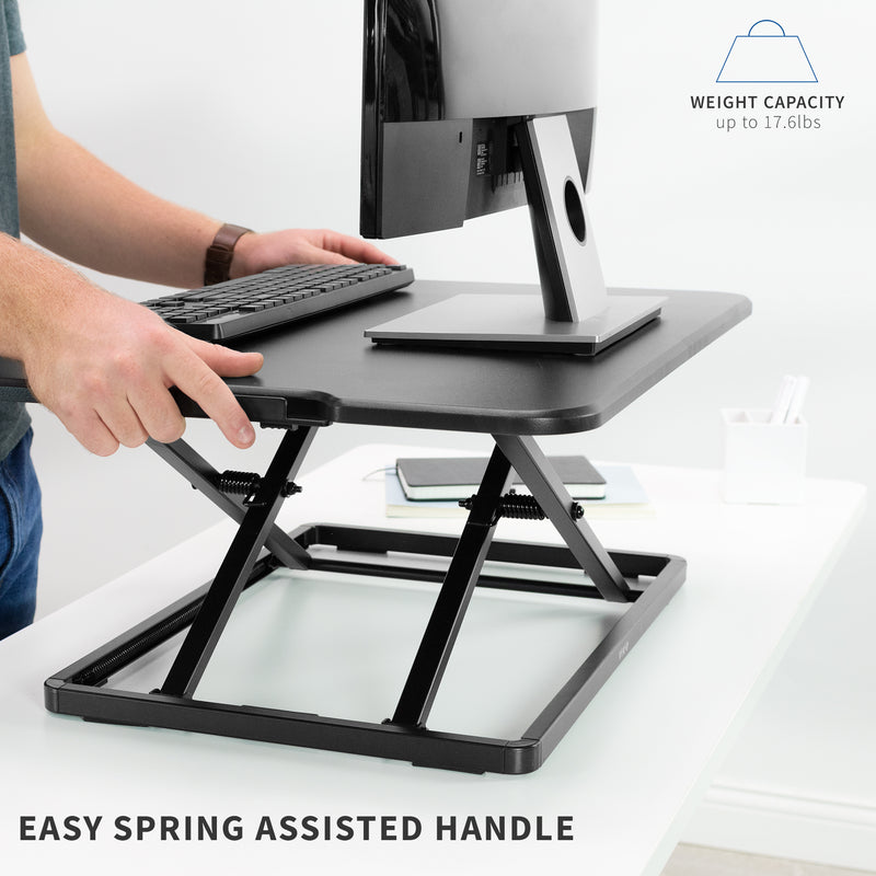 Black Single Top Desk Riser easy spring assisted handle