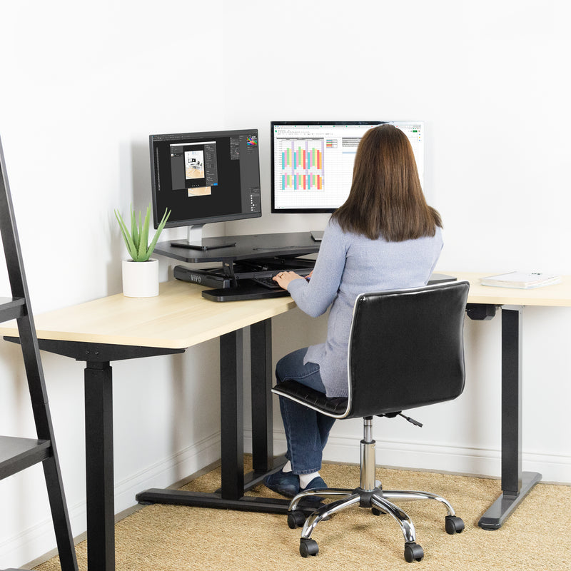 "DESK-V037MC <br><br>Black 37"" Corner Desk Riser"