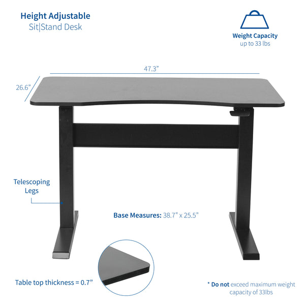 "DESK-V048GB<br><br>Black 47"" Pneumatic Desk"