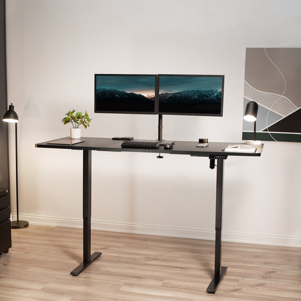 Black Electric Single Motor Desk Frame