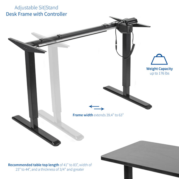 DESK-V101EB <br><br>Black Electric Single Motor Desk Frame