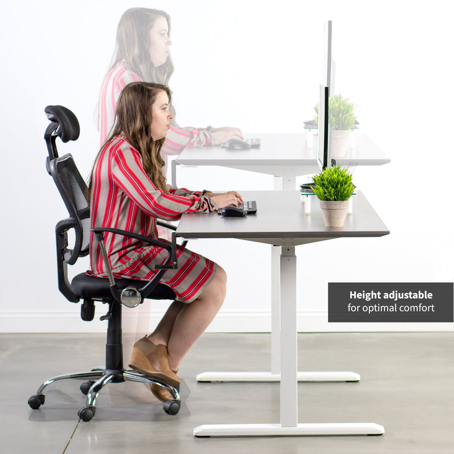 DESK-V101MW  <br><br>Crank Height Adjustable Desk Frame - White