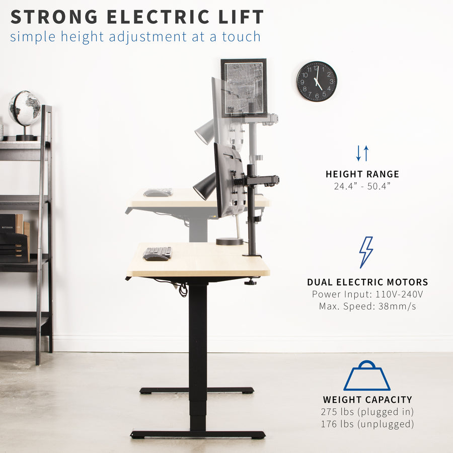 Electric Stand Up Desk Frame w/ Dual Motor and Cable Management Rack